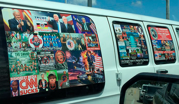 Cesar Sayoc (i) y su camioneta llena de propaganda agresiva (d) | Foto © Collage /Sheriff County BrowardCollage /Sheriff County Broward